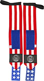 SweatGear Fitness USA Weightlifting and Crossfit Wrist Wraps Quality,  Durable,  Thumb Loop. Special USA Edition,  Limited Availability. Best for Stability and Support of Wrists.