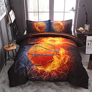 Sisher Basketball Comforter Sets, 3D Printed Sports Bedding Set Full Size Boys Comforter Quilt Set with 2 Pillowcases