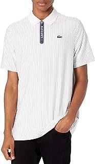 Lacoste Men's Sport Short Sleeve Striped Zip Placket Polo Shirt