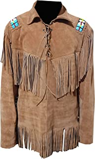 NRFashion Men's Suede Leather Western Cowboy Beaded & Fringed Shirt