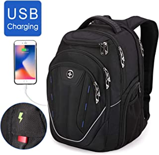 Swissdigital Water-Resistant Large Backpack-TSA Friendly Business Laptop Backpack USB Charging Port Bag for Men with RFID Protection Big Travel Backpack, Fits 15.6 in Laptops School Bookbag