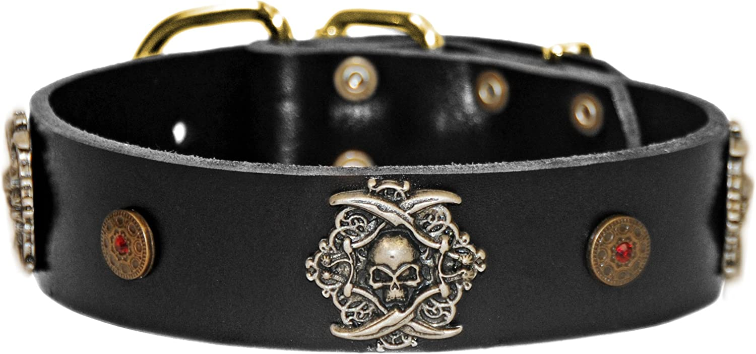 Dean and Tyler  THE PIRATE  Leather Dog Collar with Solid Brass Buckle  Black  Size 56cm by 4cm Width. Fits Neck Size 20 Inches to 24 Inches.