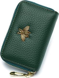 imeetu RFID Credit Card Holder, Leather Zipper Card Case Wallet for Women S(Green)