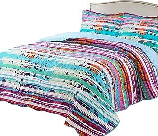 vivinna home textile Printing Damask Quilt Set Queen Size Light Blue Danube (Size:90