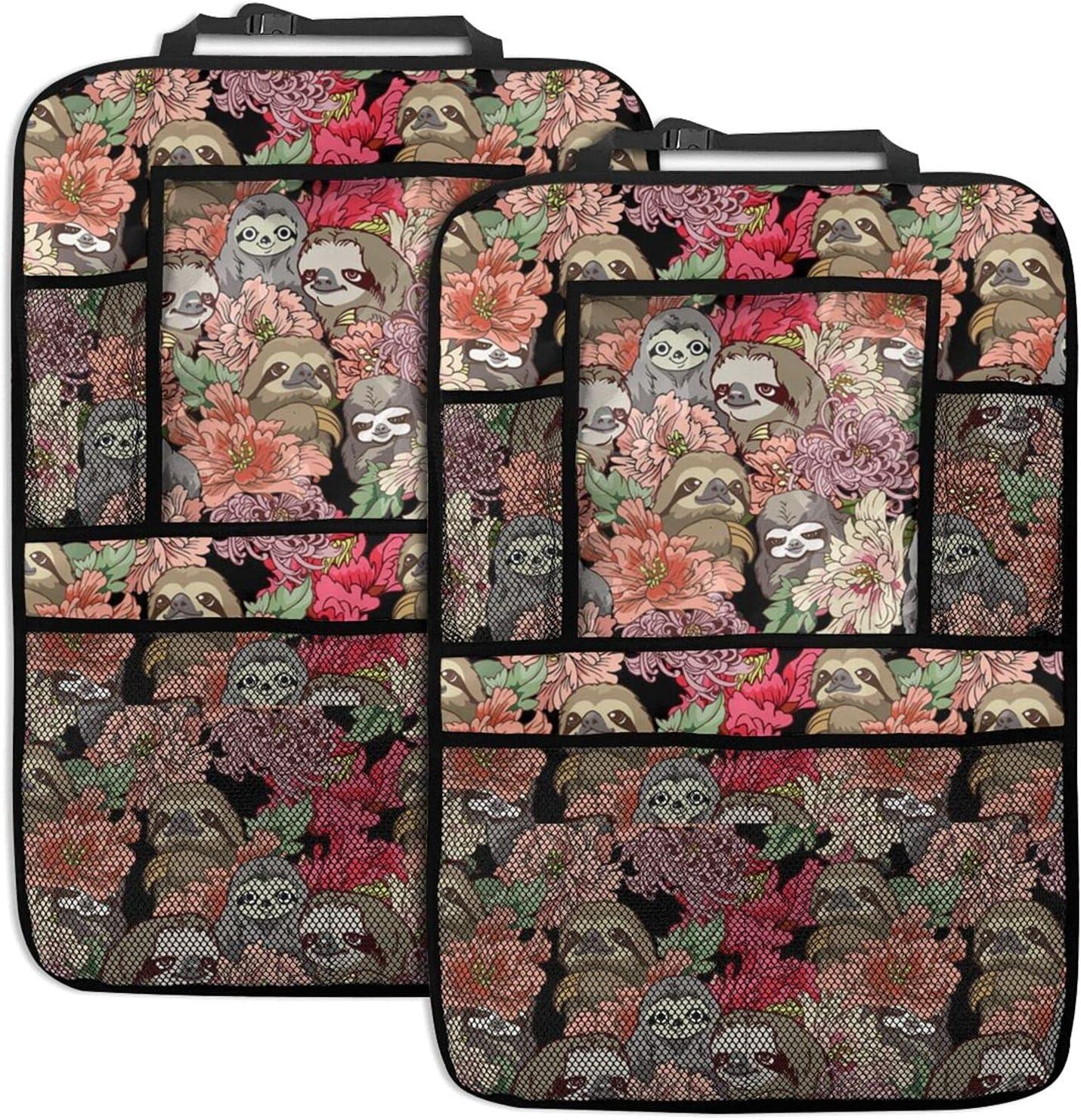 Sloth Floral Art Pattern Car Bargain sale Function Organizer Multi Trust Back Seat