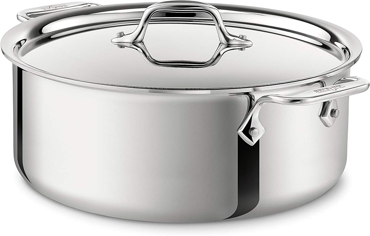 All Clad 4506 Stainless Steel Tri Ply Bonded Dishwasher Safe Stockpot With Lid Cookware 6 Quart Silver