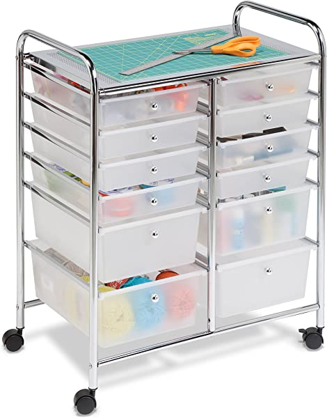 Honey Can Do Rolling Storage Cart And Organizer With 12 Plastic Drawers