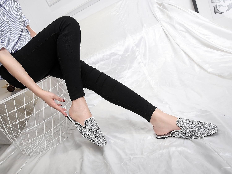 GTVERNH-Spring Flat Pentagram Sequins All-Match shoes Sandals Sequins