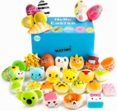 WATINC Random 24 Pcs Easter Eggs Filled with Kawaii Squishy Colorful Simulation Lovely Toy Mini Soft Food Squishy Cream Scented Stress Relief Party Fover Key Chains Phone Straps