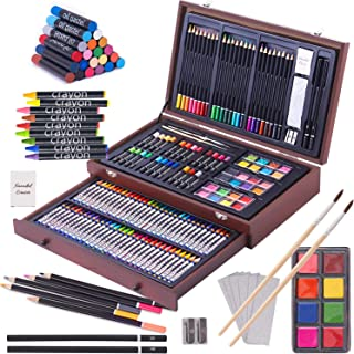 143 Piece Deluxe Art Set, Art Supplies in Portable Wooden Case-Painting & Drawing Kit with Crayons, Oil Pastels, Colored P...
