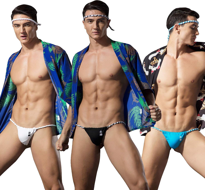 Newsywell Mens MutiPack T-Back Thongs Cotton Sumo G String Low Rise Bikini Briefs Underwear