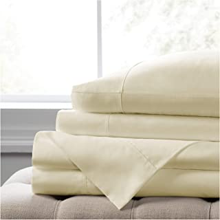 Elizabeth Arden Soft Breeze 400 Thread Count Pillowcase Set - Ultra-Fine Natural Pure Long-Staple Combed 100% Cotton - (Set of 2 King Size, Ivory)