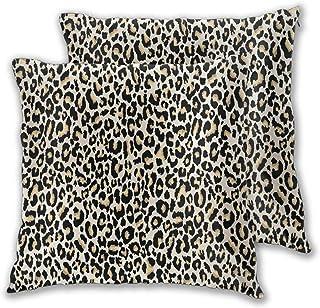 BROWCIN 2 Pack Funda de Almohada Patrón de Piel de Leopardo Diseño Abstracto de Vida Silvestre Lino Suave Cuadrado Sofá Cama Decoración Hogar para Cojín 60cm x 60cm