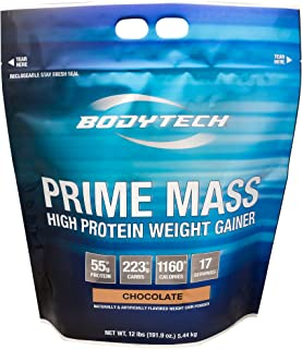 BodyTech Prime Mass High Protein Weight Gainer with 55 Grams of Protein per Serving to Support Muscle Growth Performance Blend of Creatine, Glutamine BCAA's Rich Chocolate (12 Pound)
