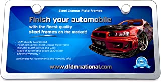 DFDM National Premium Stainless Steel License Plate Frame Mirror Finish Includes SS Screws, Fasteners and Caps 2 Hole Frame - Standard Non Anti-Theft Model