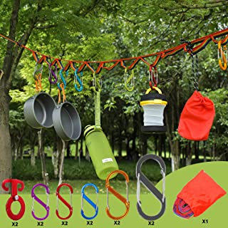 BSGB 13PCS Outdoor Camping Lanyard Rope Campsite Storage Strap Tent Clothesline Hanger Light Hanging Decoration Windproof ...