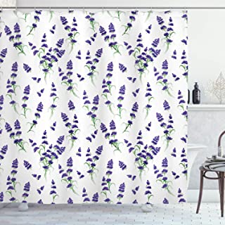 Ambesonne Flower Shower Curtain, Watercolor Lavender Flowering Fragrant Pale Plant Essential Oil Extract Temperate, Cloth Fabric Bathroom Decor Set with Hooks, 84