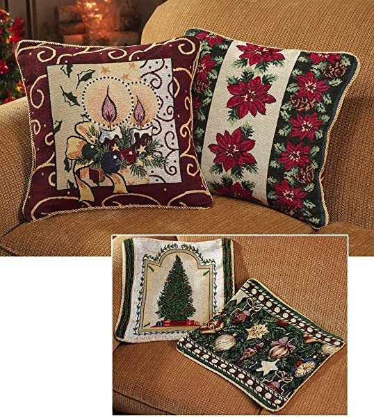 Collections Etc Reversible Holiday Throw Pillow Covers Set Of 2