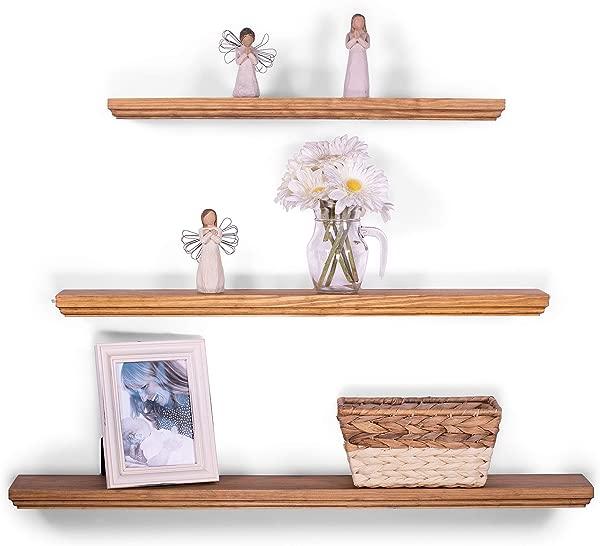 DAKODA LOVE Floating Shelves Solid Wood 36 30 24 X 5 25 Set Of 3 Buckskin Routed Edge Wall Mounted Floating Bookshelves Decorative Floating Shelving Contemporary Floating Shelf