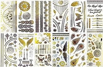 BohoTats Tattoos - Set 2 of 12 Sheets - Over 100+ Intricate Designs - Stunning Flash Metallic Boho Tattoos - Non Toxic - Quality Guarantee - Temporary Metallic Tattoos