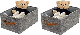 ITIDY Storage-Box, 2pk Super Soft Felt Bins,Foldable Storage Cubes with Handle, Storage Baskets Container Drawer Organizer, Gray