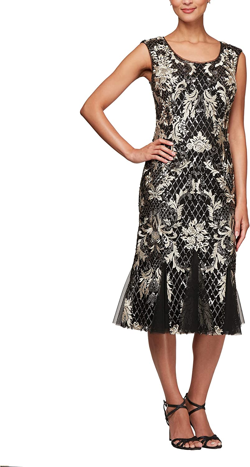 Alex Evenings Women's Midi Scoop Neck Embroidered Fit and Flare Dress