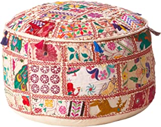 Surya Decorative Pouf, 22 by 22 by 15.5-Inch, Multicolored
