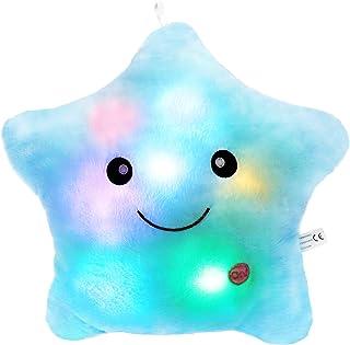 Wewill Creative Glowing LED Night Light Twinkle Star Shape Plush Pillow Stuffed Toys, Blue