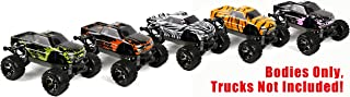 SummitLink 5pk Combo Set Compatible Custom Body Muddy Orange/Green/Pink/Tiger/Zebra Replacement for Traxxas 1/10 Stampede Bigfoot 4x4 VXL 2WD Slayer RC Car or Truck (Truck not Included) ST-RGPZT-03
