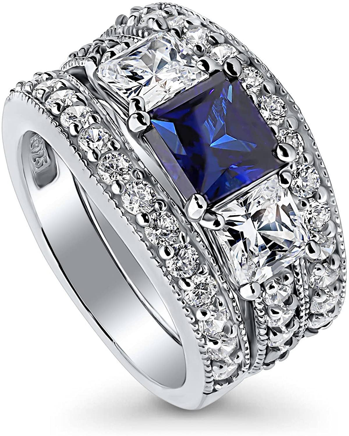 BERRICLE Rhodium Max 57% OFF Plated cheap Sterling Silver Sapphire Blue Simulated