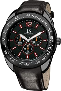 Joshua & Sons Men's Multifunction Watch - 3 Subdials Engraved on Tachymeter Bezel On Genuine Leather Strap - JS-45