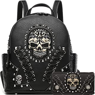 Sugar Skull Punk Art Rivet Stud Biker Purse Women Fashion Backpack Python Daypack Shoulder Bag Wallet Set