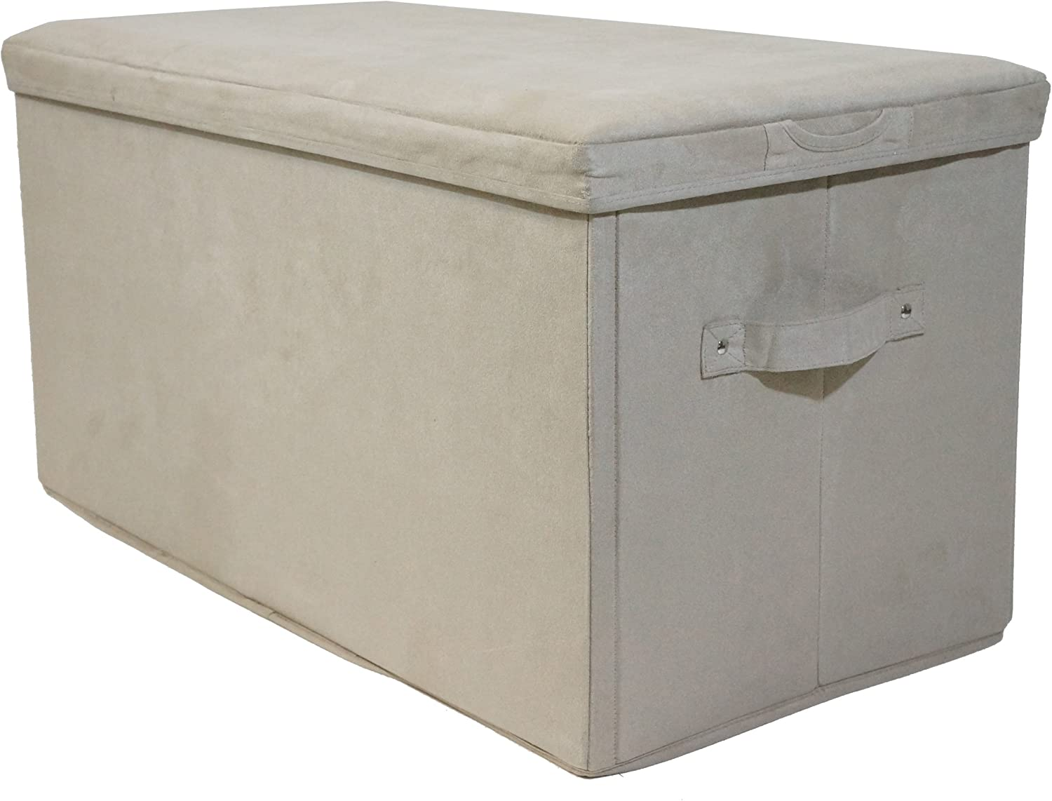Casual Home Microsuede Folding Storage Bench, Beige
