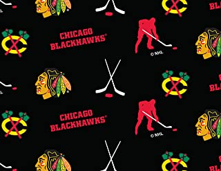 Chicago Blackhawks Fleece Blanket Fabric All Over Design-Sold by The Yard