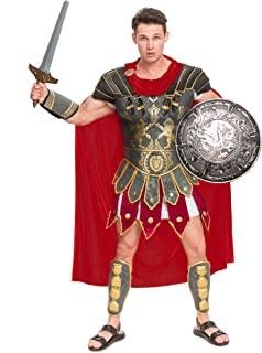 Brave Men's Roman Gladiator Costume Set for Halloween Audacious Dress Up Party
