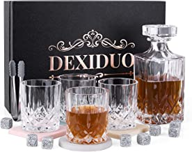 DEXIDUO Whiskey Decanter & Whisky Glasses Set with Luxury Box, 10 Oz Rocks Barware for Bourbon, Scotch Whisky, Cocktails, ...