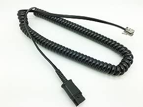AvimaBasics Premium Quick Disconnect Cable for Plantronics U10P Polaris H-Series headsets with Built-in Amplifier - Mitel, Polycom VVX, Analog Deskphones, Avaya, Nortel, Aastra | 27190-01 2719001