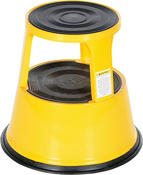 Vestil STEP 17 Y Steel Rolling Step Stool With Powder Coat Finish 17 1 8 Top Step Height 500 Lbs Capacity Yellow