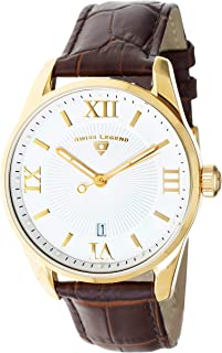 Men's Belleza Analog Swiss Quartz Watch White Dial and Gold Stainless Steel Case with Brown Leather Strap 22012-YG-02-BRN