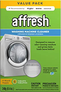Affresh W10501250 Washing Machine Cleaner, 6 Tablets: Cleans Front Load and Top Load Washers, Including HE,White