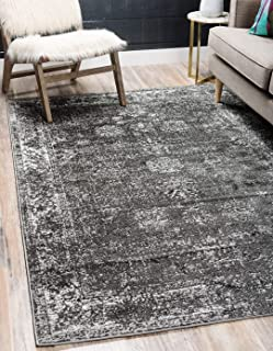 Unique Loom 3134052 Sofia Collection Traditional Vintage Beige Area Rug, 4' x 6' Rectangle, Dark Gray