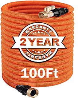 TACKLIFE 100FT Expandable Garden Hose with Double Latex Core, 3/4' Brass Fittings Heavy Duty, No Kink Flexible and No-Leak Lightweight Gardening Water Hose for Lawn/Pet/Car/Boat Wash - GGH2A