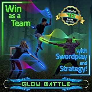 Starlux Games Glow Battle: A Light up Sword and Ninja Game – Glow-in-The-Dark, Outdoor Play for Kids and Teens – Nighttime Fun for The Whole Neighborhood