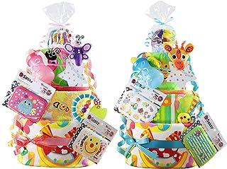 Sassy サッシー 名入れ刺繍 3段 おむつケーキ パンパースS ピンク 女の子 豪華アイテム9点付 出産祝い 歯固め ビタット Bitatto 身長計付きバスタオル