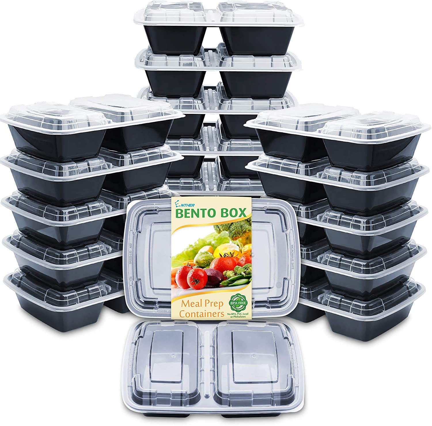 Enther Meal Prep Containers 20 Pack F Topics on TV with Max 59% OFF Lids 2 Compartment