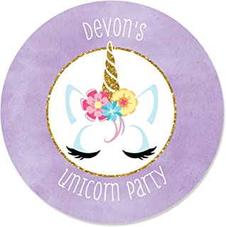 Personalized Rainbow Unicorn - Custom Magical Unicorn Baby Shower or Birthday Party Favor Circle Sticker Labels - Custom Text - 24 Count