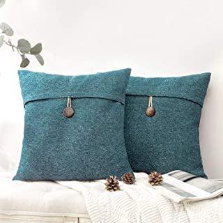 مجموعة Phantoscope من 2 غطاء وسادة رمي مزارع زر خمر الكتان الزخرفية أغطية الوسائد للأريكة السرير والكرسي بحيرة الأزرق 22 ×...