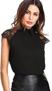 Floerns Women's Lace Splice Peter Pan Collar Cap Sleeve Blouse Tops