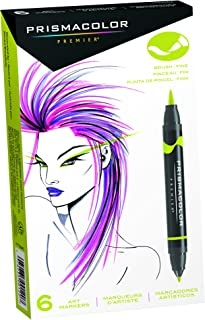 Prismacolor 1773104 Premier Double-Ended Art Markers, Fine and Brush Tip, 6-Count