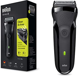 BRAUN 博朗 系列3 300S男式电动剃须刀/充电式电动剃须刀,黑色